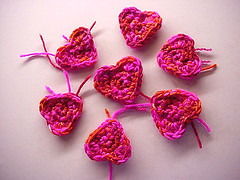 image of crocheted hearts