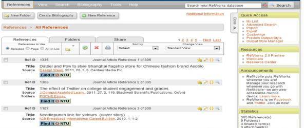 Example of RefWorks Page
