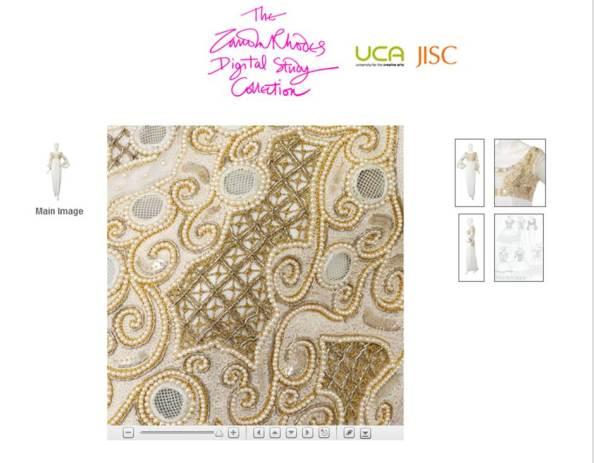 Detail of fabric from Zandra Rhodes design dress
